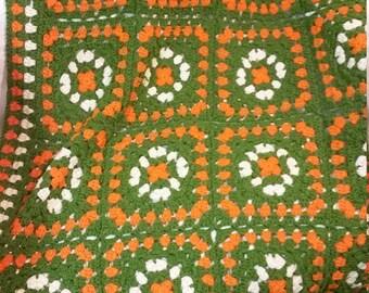 Retro Orange and Green Crochet Blanket