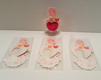 Vintage Pink Cupid Angel Valentines Pop Up Pink Hearts Decoration