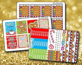 Gingerbread Christmas Weekly Sticker Kit - Vertical Planner Stickers Erin Condren Life Planner  ECLP