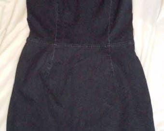 Vintage Dark Denim Strapless Mini Dress with Bolero Size 10