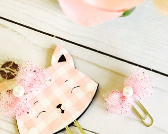 Gingham Cat Planner Clip ~ Pink Planner Clip ~ Page Clip ~ Bookmark ~ Stationary