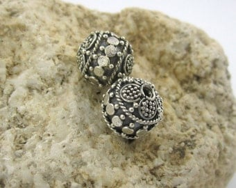 2 pieces Bali beads handmade silver beads 10mm