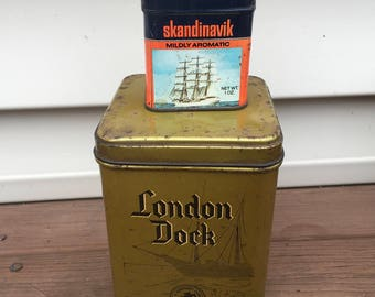 2 Tobacco Tins Nautical Marine Sailing Vintage