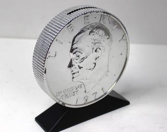 Vintage Big 1971 Eisenhower Silver Dollar Coin Bank