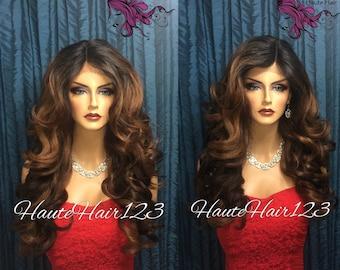 Caramel Ombre Romantic Curls Human Hair Blend Lace Front Wig - Honey