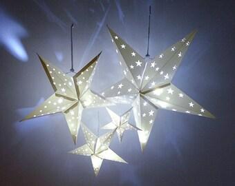 4 Size Hanging Decor set White Paper Star Lantern Baby shower Wedding Birthday Party Supplies Decorations