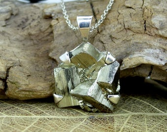 """Naturally Cubic Iron Pyrite, """"Fools Gold"""" Pendant Necklace, Sterling Silver, Two Skies Scotland Jewellery, FREE Worldwide Delivery (7658)"""