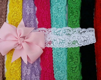 Make your own, mix and match,Baby headbands, lace headbands,baby lace headbands, Hair bows, plain color bows, cute bows, pinwheel bows