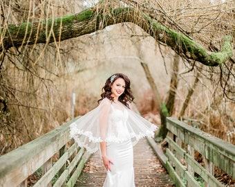 Bridal Lace Cape #73, Lace Wedding Cape, Bridal Lace Capelet, Bridal Cape, Wedding Bolero, Tulle Lace Cape, Custom Wedding Cape