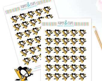 30 Pittsburgh Penguins Hockey Reminder or Planner Stickers