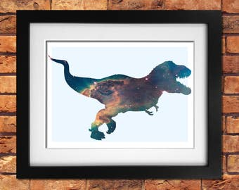 T-Rex Art Print Silhouette Filled With Galaxy Nebula Space Dinosaur