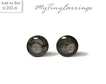 6mm Dark Gray Stud Earrings Mini Tiny Shimmery - Gold Plated Stainless Steel Posts plus High Quality Epoxy Resin N202-6