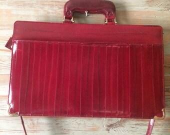 EEl skin leather attache case, briefcase,Burgundy oxblood, Genuine EEl skin