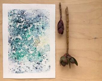 Original watercolour painting - Rain Painting  - Deep Sea and Aqua Sun - Original Painting - A5 - Desk Art