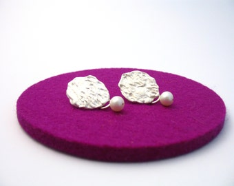 Silver earrings with pearls, earrings with freshwater pearls, unique earrings in silver with removable Pearl pendants, Pearl Earrings