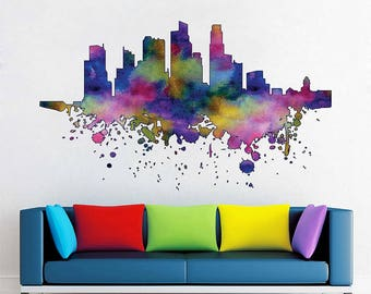 cik1852 Full Color Wall decal Watercolor  Singapore bedroom living room