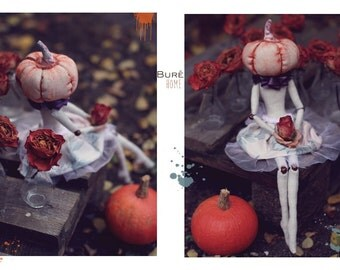 Mrs. Pumpkinhead. Ooak art doll. Home decor.