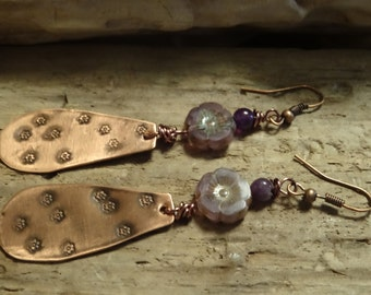 Artisan Handmade Floral Rustic Copper Purple Gemstone Pierced Earrings, Handstamped earrings, Flower Earrings, BOHO Earrings, Gypsy Earrings