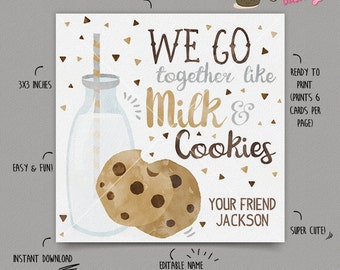 INSTANT DOWNLOAD - EDITABLE Valentine's day Card Milk and Cookies kids Valentines Day card School Valentine's classroom Card