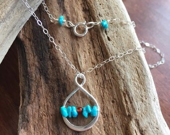 Pretty necklace /gift for her/turquoise/garnet/sterling silver