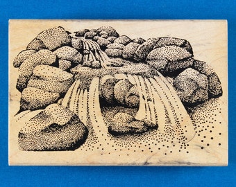 Waterfall Rubber Stamp - Stream Flowing over Large Rocks - A Stamp in the Hand Co.