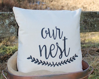 17x17//Our Nest Pillow Cover// Free Shipping