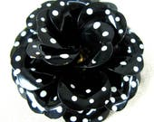 RESERVED for Barbara // Vintage 1960s Black Tin Enamel Flower Pin with Petite White Polka Dots 60s Large MOD Flower Brooch
