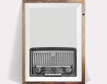 Retro Radio Print,Radio Poster, Retro Poster,Music Print,Retro Print,Black and White,Large Prints,Large Printable Art,Retro Prints,Radio Art