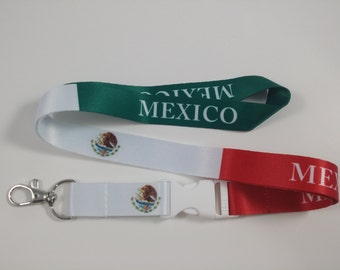 Mexico Flag lanyard/keychain with clip for keys or id badges