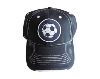 Navy Soccer Theme Baseball Cap