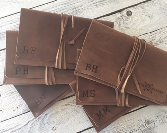 Groomsman bundle - 100% genuine leather pipe pouch - shave pouch - dop kit