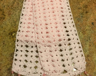 Pink child scarf with beaded fringe