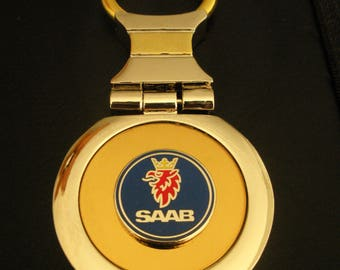 Saab 18K Gold Keychain with Silver Trim-Free Engraving