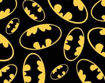 Black Batman Tossed Emblems Cotton Fabric from David Textiles quilting woven DC comics WB00630CW1 superhero yellow