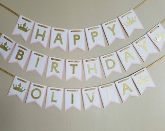 PRINCESS pink and gold Happy Birthday banner