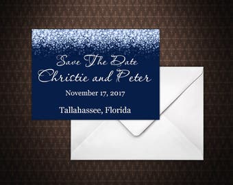 Navy Blue and Silver Glitter Save the Date Card, Instant Download, Save the Date Template, doc, Microsoft Word, code-024