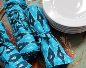 Ikat napkins - blue cotton dinner napkins - natural eco friendly cloth napkins - rustic and bohemian - house warming gift