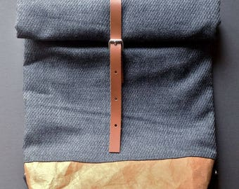 Wool leather backpack grey