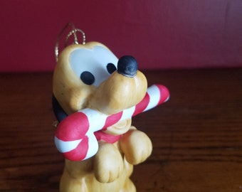 Vintage Baby Pluto Disney Christmas Tree Ornament with candy cane