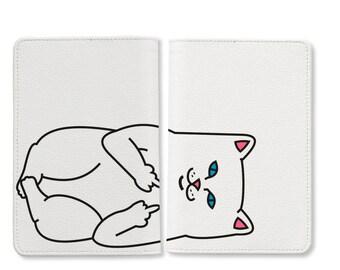 Bad cat passport holder, personalized passport cover, leather passport holder, passport wallet,personalized gifts,cute passport covers