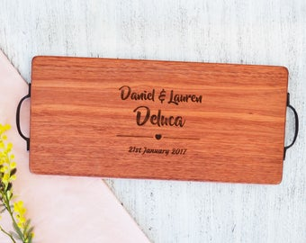 Personalised His and Hers Heart Chopping Board - Australian Made and Engraved