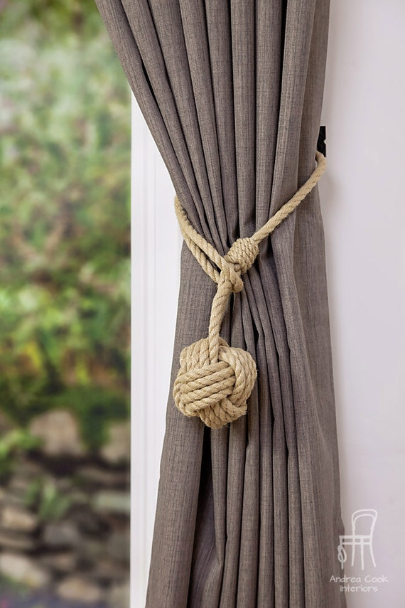 Large monkey fist knot hemp rope curtain tieback rope for Large nautical rope
