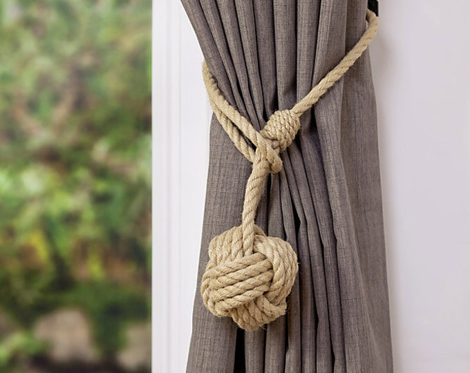 Large Monkey Fist Knot Hemp Rope Curtain Tieback/ Rope Ties/Shabby chic ties/ Holdbacks/Shabby Chic window/ rustic ties /nautical decor