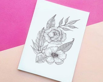 A6 Floral sketch card, Flowers leaves illustration greetings card.