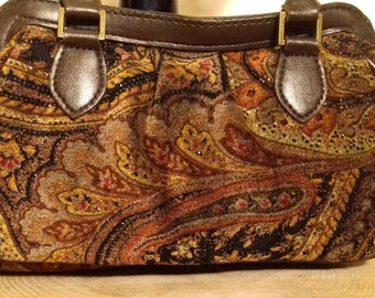 Brown & gold velour handbag.
