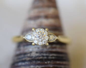 10K Yellow Gold Diamond Antique Cluster Engagement Ring, US Size 7.0, Vintage Bridal Jewelry