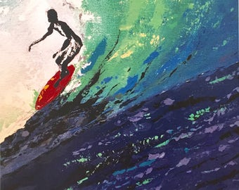 In the curl, Surfing art, Beach art, Wave art print, Surfer ,Beach house decor,Surf art, Wave art print, Ocean art, Abstract wave art,