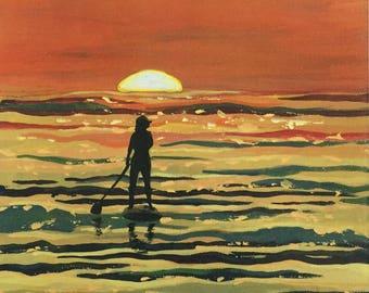 Sunset Paddle - Surf art, Beach house art,Ocean art,Sunset art, Paddleboard,Sports art, Coastal decor, Orange, Surfing, wave art, Beach art