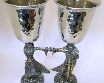 Fellowship Foundry King Arthur and Queen Guinevere pewter wedding goblets chalices flutes