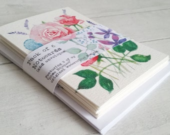 Rose Bouquet... Gift set of 6 Notecards and envelopes, taken from 3 of my original watercolour designs - blank inside